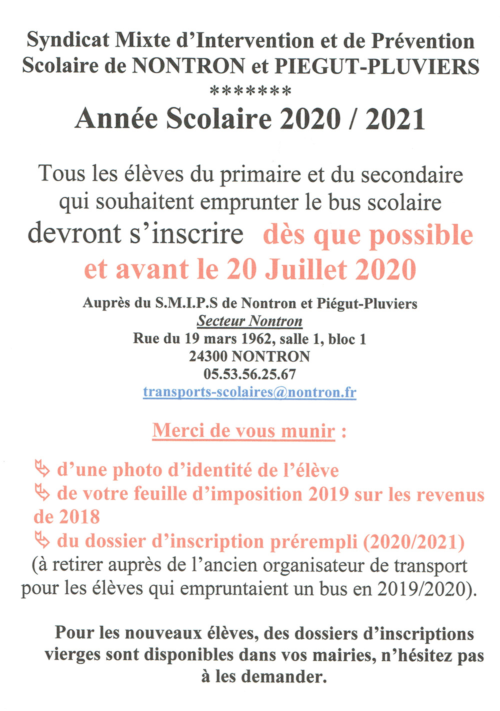 Inscription bus scolaire 2020 2021