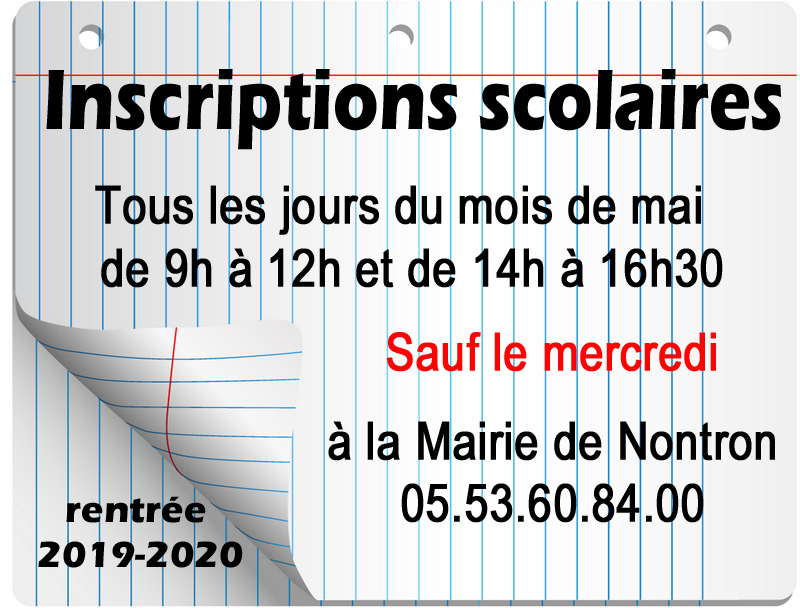Inscriptions mai 2019