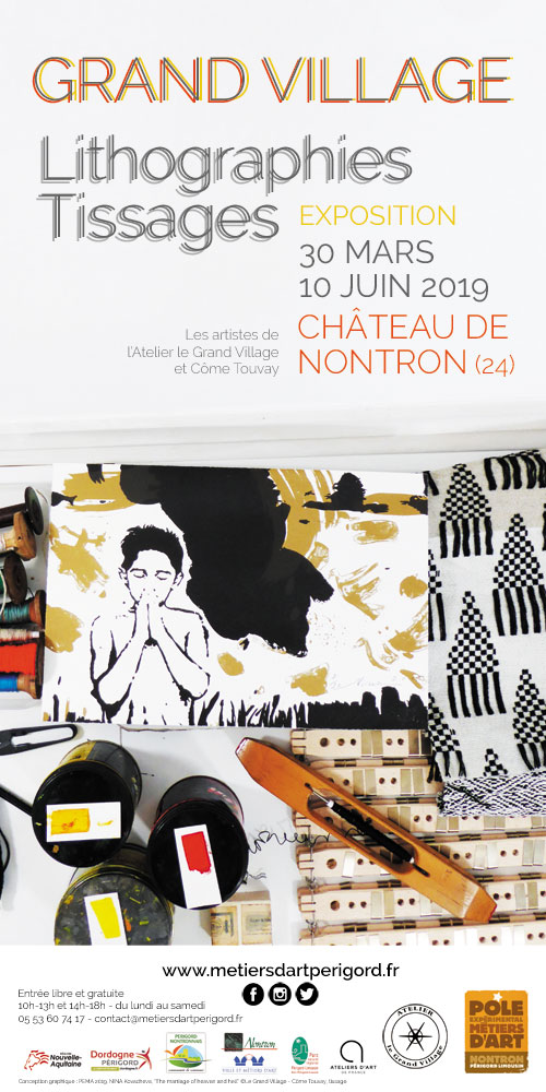 affiche-grand-village-lithographies-tissages-exposition-nontron